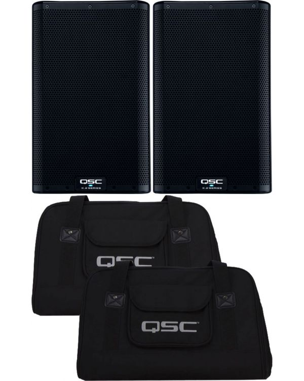 QSC K8.2 Active PA Speakers, Pair, with Tote Bags Bundle