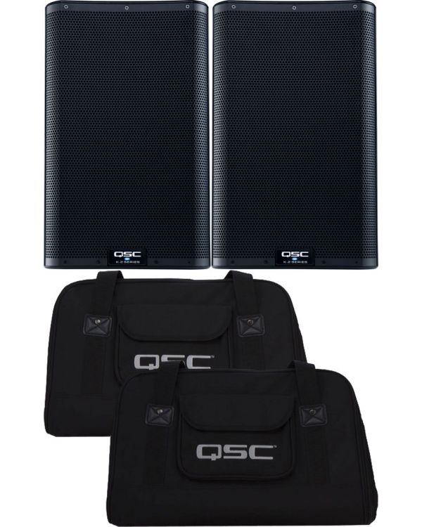 QSC K10.2 Active PA Speakers, Pair, with Tote Bags Bundle