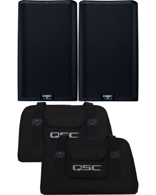 QSC K12.2 2 Active PA Speakers with Tote Bag Bundle