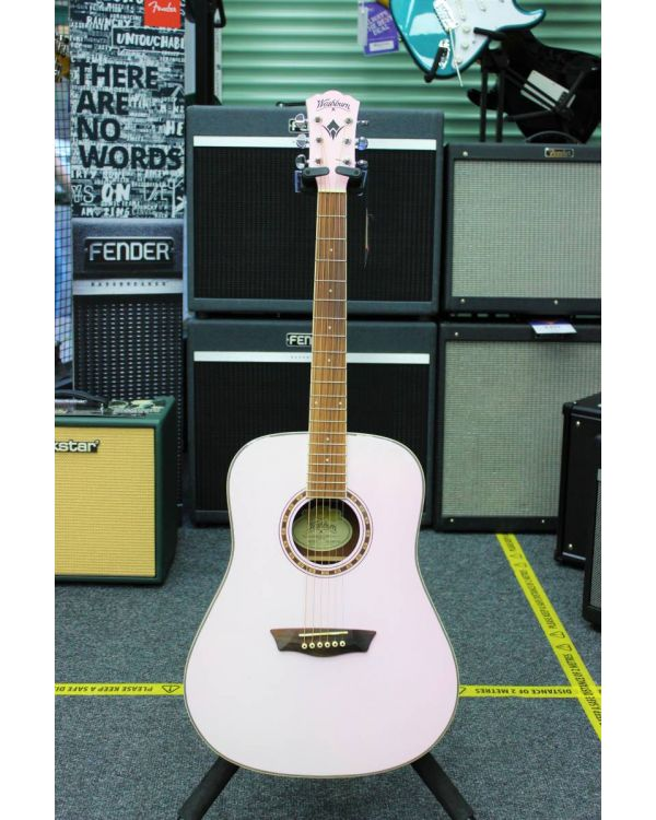 B-Stock Washburn WD7S Pink Dreadnought Acoustic Guitar
