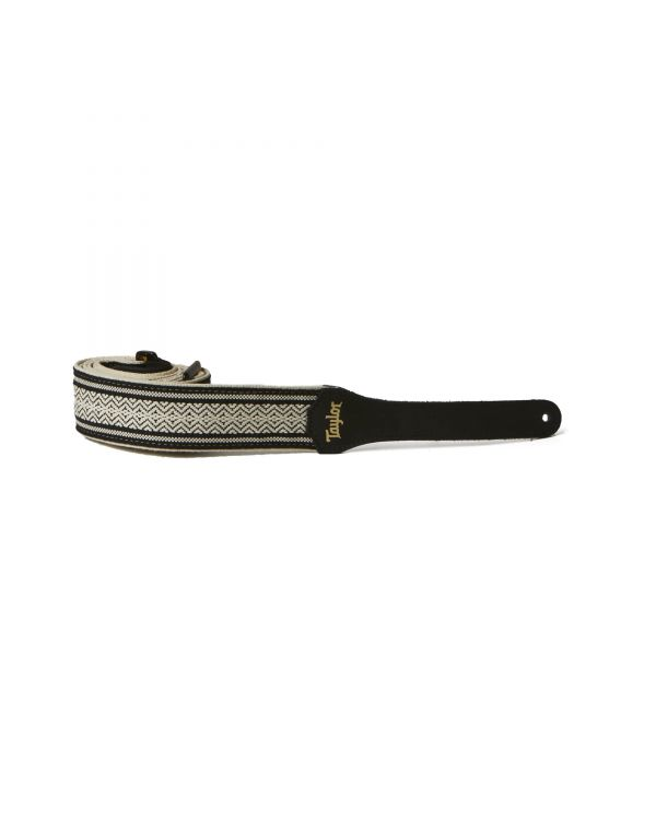 Taylor Jacquard Cotton Guitar Strap, White/Black