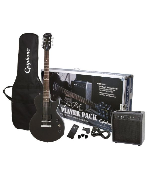 Epiphone Les Paul Electric Guitar Player Pack with Amp, Black