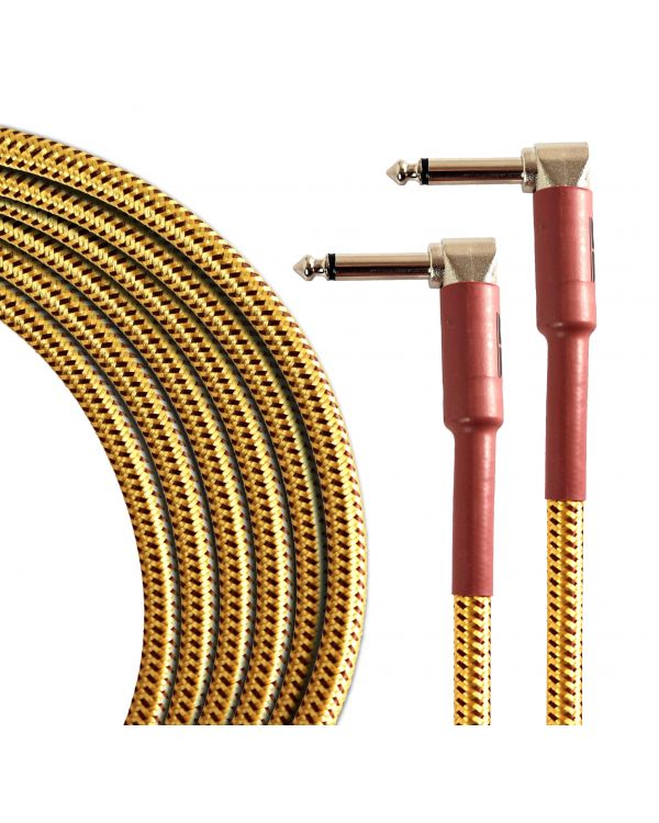 TourTech 6m/20ft Braided Tweed Angled Guitar Cable
