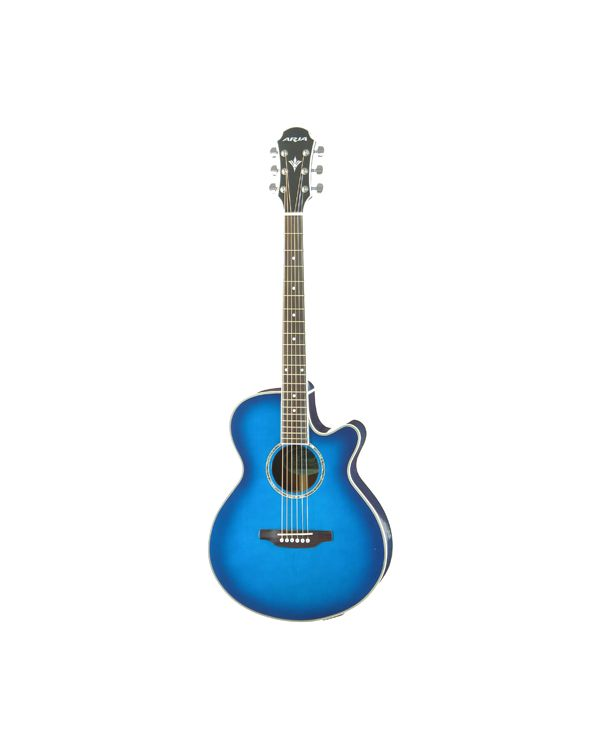 Aria Elecord FET Elite Electro Acoustic Guitar in Blue Shade