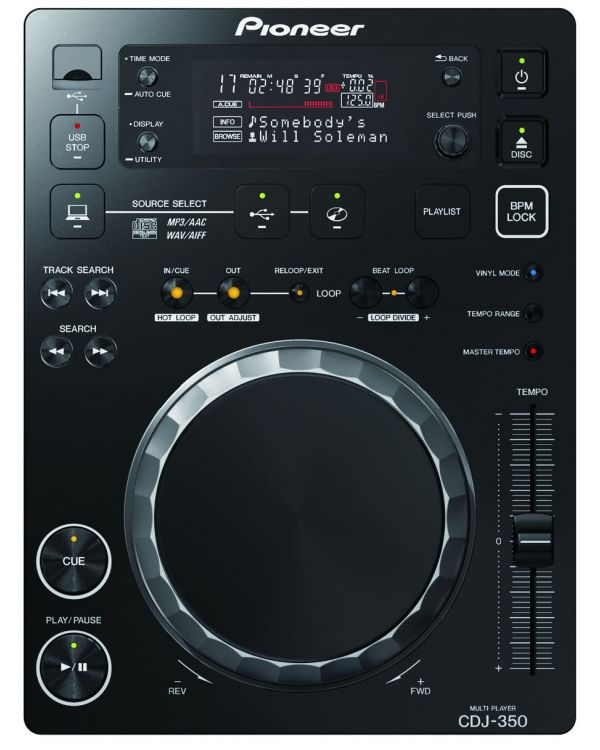 Pioneer CDJ 350 Multimedia CD Deck, Black