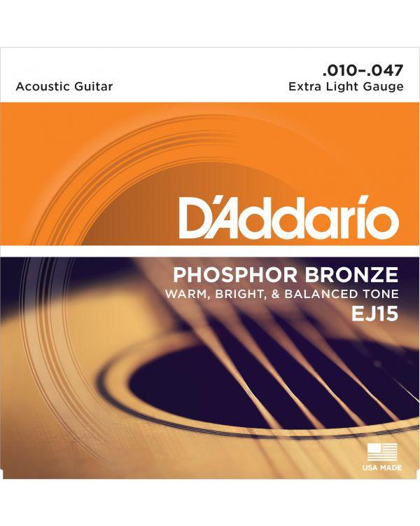 DAddario EJ15 Phosphor Bronze Guitar Strings, Extra Light, 10-47