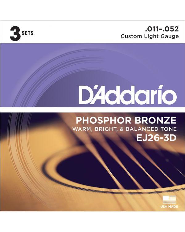 DAddario EJ26-3D Acoustic Guitar Strings, Custom Light, 11-52, 3 Sets
