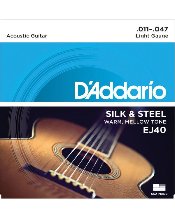 D'Addario EJ40 Silk & Steel Folk Guitar Strings,11-47