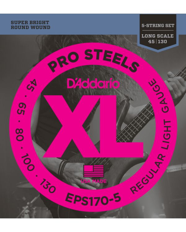 DAddario EPS170-5 5-String ProSteels Strings Light 45-130 Long Scale