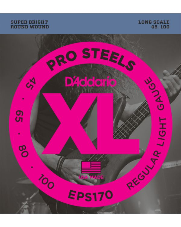 D'Addario EPS170 ProSteels Bass Guitar Strings,Light 45-100 Long Scale