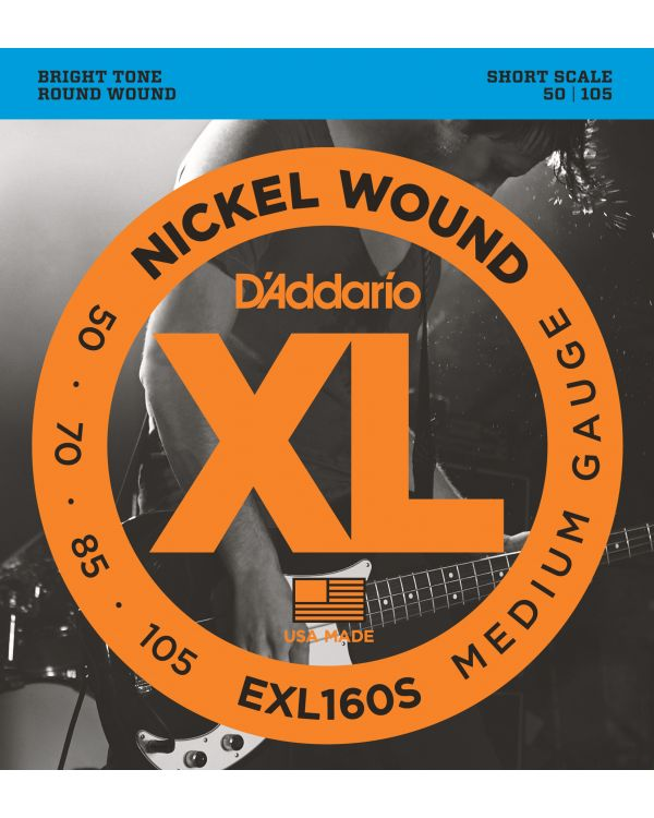 DAddario EXL160S Nickel Wound Bass Guitar Strings, Medium, 50-105, Short Scale