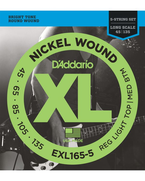 DAddario EXL165 5-String Bass Strings Custom Light 45-135 Long Scale