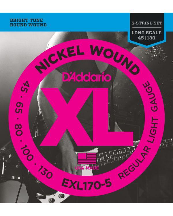 DAddario EXL170-5 5-String Bass Guitar Strings Light 45-130 Long Scale