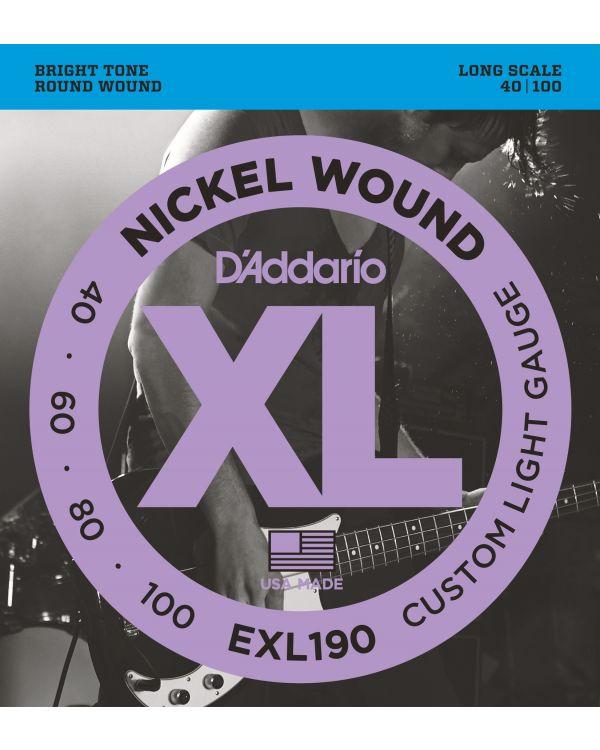 DAddario EXL190 Bass Guitar Strings Custom Light 40-100 Long Scale