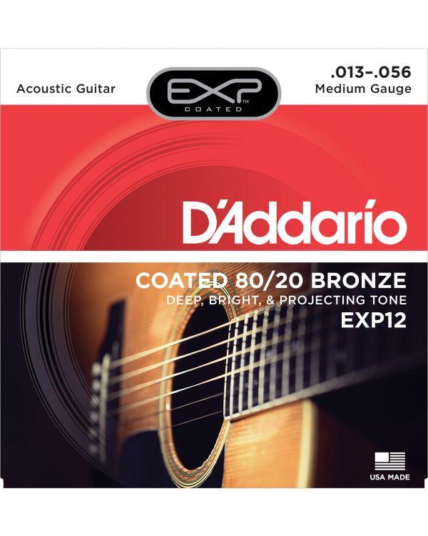 DAddario EXP12 Coated Bronze Acoustic Guitar Strings, Medium, 13-56