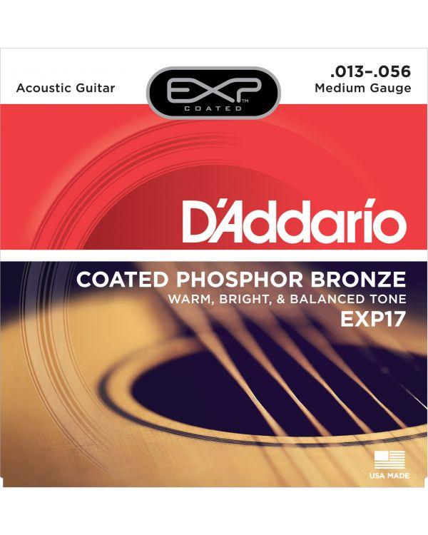DAddario EXP17 Coated Phosphor Acoustic Guitar Strings, Medium, 13-56