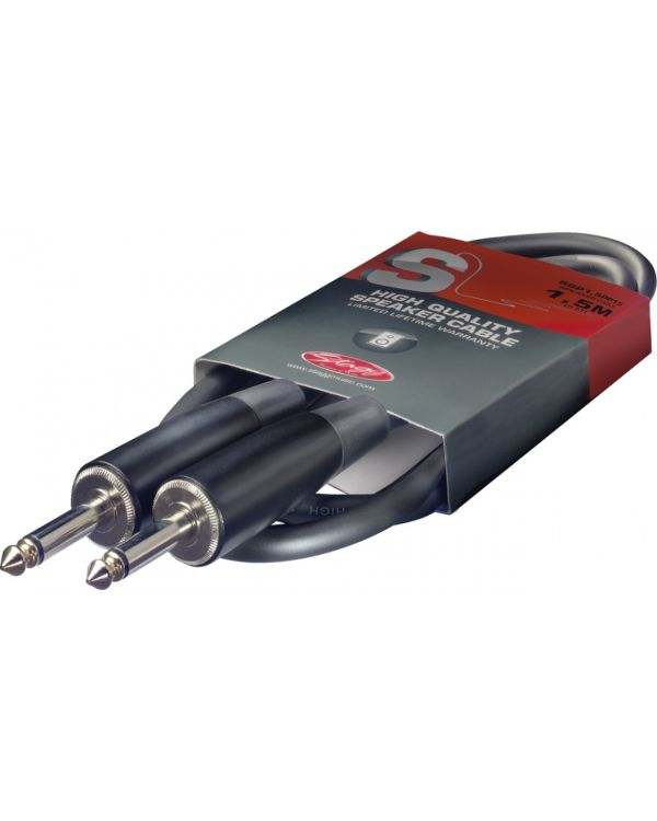 Stagg 1.5m 6.3mm Jack to Jack Speaker Cable