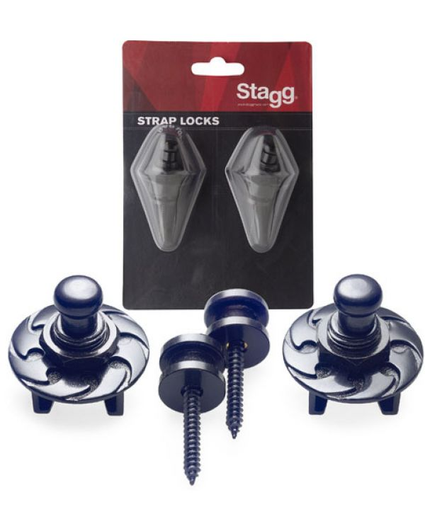 Stagg Black Guitar Strap Buttons with Locks