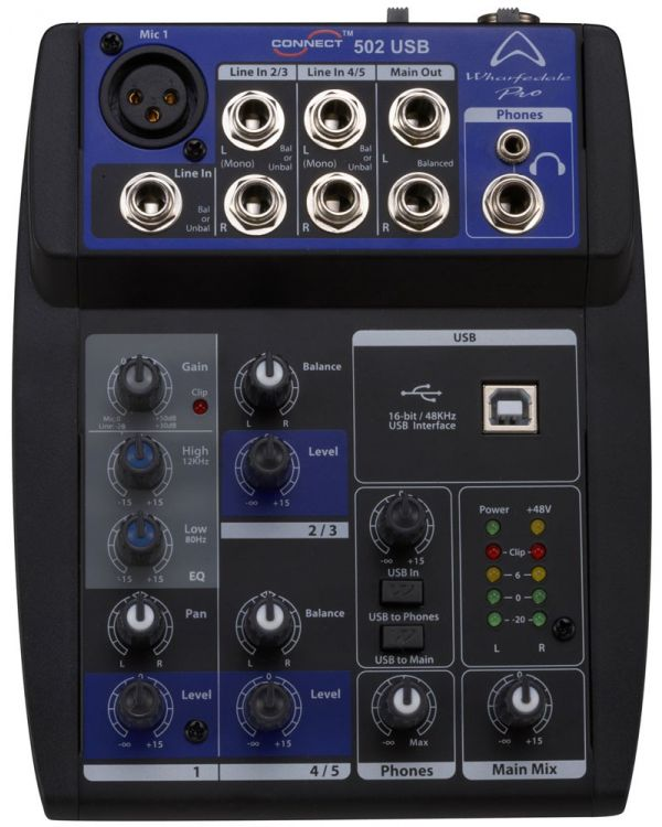 Wharfedale Connect 502 USB 5 Channel Mixing Desk